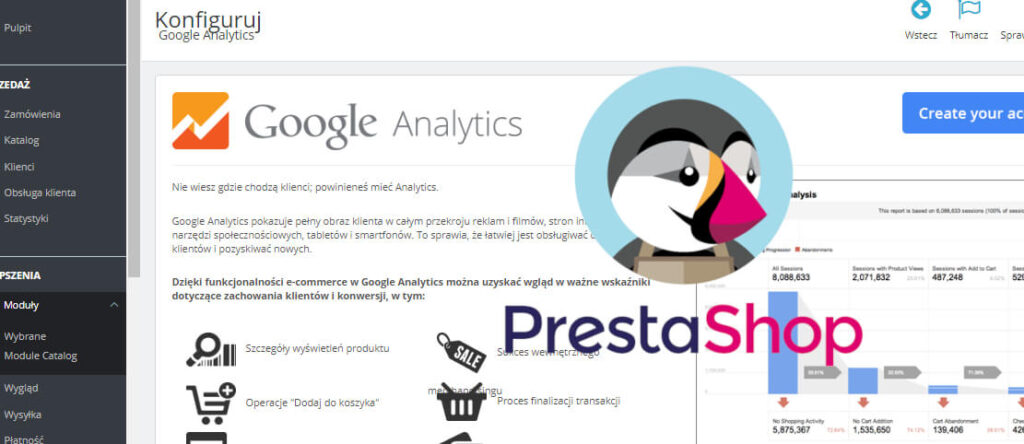 Problemy Google Analytics Prestashop 1.7